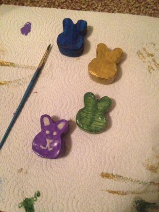 Multicolor clay bunny heads